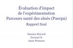 Evaluation d'impact de l'experimentation parcours santé des ainés PAERPA